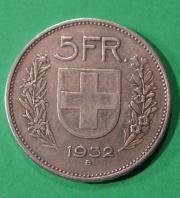 Silveroriginalmünze Confoederatio Helvetica SWITZERLAND 1932