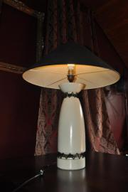 ... Lampen   Tischlampe Designerstück Beige Mit Schwarzem Schirm Lampe ...