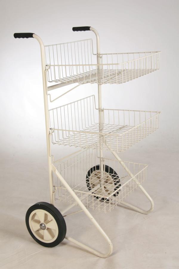 Verkaufs-Rollständer-m 3 Körben-Wühlkorb-Ständer Ladeneinrichtung-Gitterregal weiß