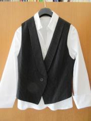 weiße Bluse mit Weste Gr